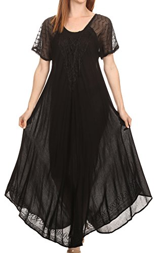 Sakkas 16602 - Shasta Lace Embroidered Cap Sleeves Long Caftan Dress / Cover Up- Schwarz-OS