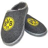 BVB 09 Filzpantoffel Hausschuhe Borussia Dortmund Grau Gelb Schuhe, Schuhgröße:38/39