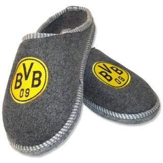 BVB-09-Filzpantoffel-Hausschuhe-Borussia-Dortmund-Grau-Gelb-Schuhe-Schuhgre4041