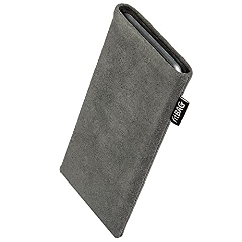 fitBAG Classic Gray custom tailored sleeve for E-Ten Glofiish M700. Genuine Alcantara pouch with integrated MicroFibre lining for display cleaning