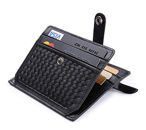flintronic ® Moda Tarjeta de Crédito Slim, RFID Bloqueo Monedero de Cuero, Mini Billetera para Tarjetas de Crédito, el Estilo Tejida (Negro)