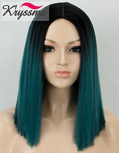 K'ryssma Perücke, grünes Ombre, Kunsthaar, schwarze Wurzeln, kurze Bob-Perücke mit Mittelscheitel, vollständig maschinell hergestellt, dunkelgrün, für Frauen, hitzebeständig (Und Die Grünen Blauen Perücke)