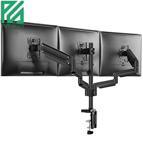 PUTORSEN® Triplo Braccio per Monitor PC - Premium Alluminio Supporto da Scrivania per 3 Monitor LCD e LED 43cm-69cm/17-27 Staffa Supporto Monitor/Schermo, Girevole Regolabile con Morsetto