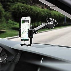 Mpow Support Téléphone Voiture[Nouveauté] pour Tableau de Bord Pare-Brise, 2 Niveaux Aspiration, Réutilisable Support de Téléphone Support Voiture Téléphone GPS pour iPhone 11 Pro, Galaxy, LG, Huawei