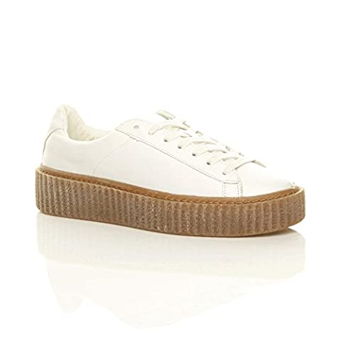 Plateforme pour femme Mesdames Flatform Wedge Lace Up formateurs Chaussures Creepers Taille - Blanc - White Matte, 35.5