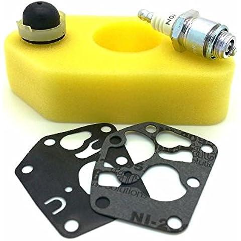 Briggs and Stratton - Juego de repuestos para cortacésped, apto para los modelo clásico y sprint, incluye filtro de aire, bujía, cebador y membranas de carburador