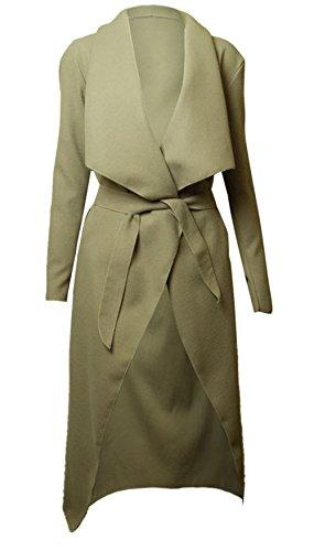 Miss Ta-Daa femme Waterfall drapée manteau à ceinture, Cape Cardigan à manches longues Beige - Beige