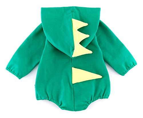 (DEMU Baby Strampler Pyjama kostüm Jumpsuit Spielanzug Mit Kapuze Baumwolle Overall Grün Hai Körperhöhe 66cm)