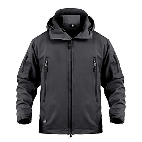 Yuandian uomo tattico camouflage softshell giacca autunno inverno outdoor militare pile fodera impermeabile antivento giubbotto con cappuccio trekking caccia sci cappotto nero 2xl