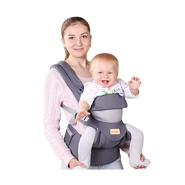 Infant Toddler Baby Carrier Wrap Backpack Front and Back, Hip Seat & Hood, Soft & Breathable Cotton, Cool Air Mesh, Grey tiancaiyiding ❤ Ergonomic Design: Wide and thick backpack straps help relieve stress . Easy to put on or take off. ❤ M shape Position: Stop hurting your baby's legs. Keep blood circulation in normality. ❤ All-round Support: Simple and thus strong structure. 360° wraps the baby against falling out. Collapsible hood for wind and sun protection 2
