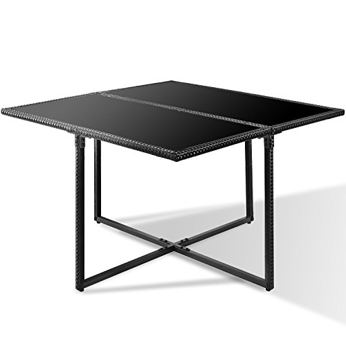 Merax Poly Rattan Lounge Gartenmöbel Set Sitzgruppe klappbare Essgruppe11/9 PCs (9 PCs, Schwarz) Bild 4*