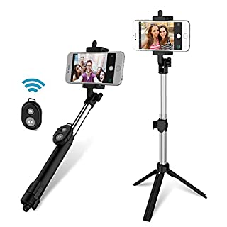 ANGGO Wireless Bluetooth Selfie Stick, Extendable Remote Control Wireless Shutter Tripod Stand Selfie Stick for Travels, Home Video,Friends photos-Compatible, for iPhone, Samsung, Android Cell Phones