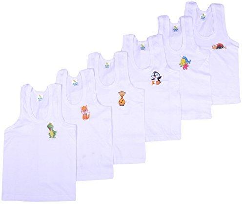 Kuchipoo Boys Regular Fit Cotton Vest (Pack of 6)(KUC-INN-901_55 cm - (2 to 3 Years)_White)