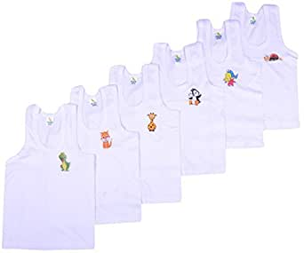 Kuchipoo Boys Regular Fit Cotton Vest (Pack of 6)(KUC-INN-901_55 cm - (2 to 3 Years)_White)