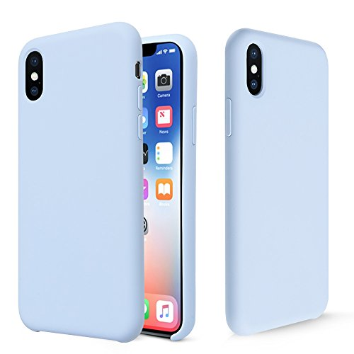 Custodia iPhone X, Fuleadture [Supporta la Ricarica Wireless] Custodia Antiurto Gomma Gel Silicio Liquido con Fodera Tessile Microfibra Morbida Anti-Graffio e anticaduta Caso Silicone Ultra Sottile Protettiva Cover per Apple iPhone X / iPhone 10