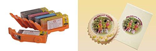 Lebensmitteltinte Patronen (TK111-TK115) & 25 Blatt A4 Dekorpapier Für Canon Canon IP3600, IP4600, IP4700, MP540, MP550, MP560, MP620, MP630, MP640