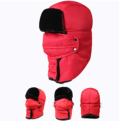 qianqian QIAN Winter Hat Male And Female Plus Velvet Keep Warm Skiing Hat Windproof Cycling Waterproof Hearing Protection Detachable Hat, Red