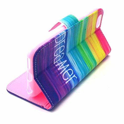 PowerQ Colorful Pattern Bunte Muster PU Etui Holster Reihe Hülle für Iphone6Plus (5.5 Inch) IPhone 6 Plus 6S IPhone6S PU Tasche mit schönen Hübsches Muster drucken Drucken Zeichnung Wallet Geldbeutel  X-6