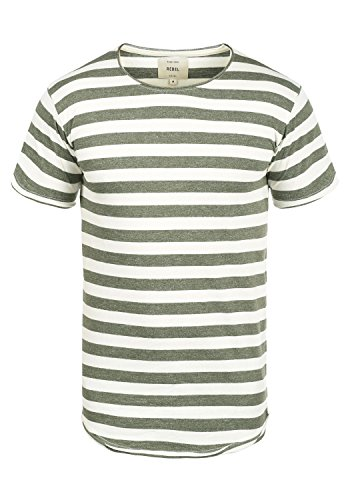 Redefined Rebel Milo Herren T-Shirt Kurzarm Shirt Mit Streifen Und Rundhalsausschnitt 100{cd9e31f03a748cc6fe660062f3a61b6bb3093e4456f244413c20700e5c02ae15} Baumwolle, Größe:L, Farbe:Dark Olive