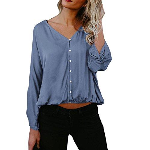Sannysis Damen Bluse Langarm Damen T-Shirt Lose Beiläufige Tops Oversize Baumwolle Sweatshirt Pullover Bluse (Blau, S) (Cardigan Kragen Open Schal)