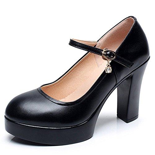 YR-R Frauen Extreme Heel Plattform Arbeitsschuhe Ankle Stra Plattform Pumpen Für Damen Offiziellen Nachtclub Mary Jane Schuhe,Black-EU:40/UK:7