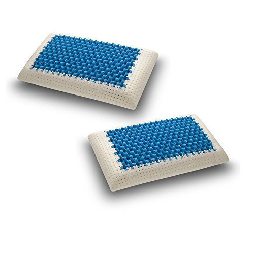 SLEEPYS: Coppia Cuscini in Memory Foam Polar Gel, 74x42 Alto 13 cm saponetta Forato con Fodera in Jersey 100% Cotone - Guanciale Polar Gel Traspirante RINFRESCANTE