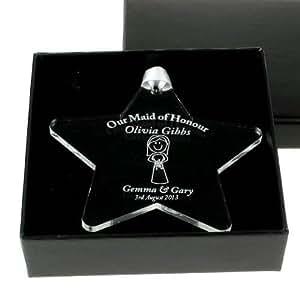 Personalised Maid of Honour Acrylic Star, Engraved Maid of Honour Keepsake Gift