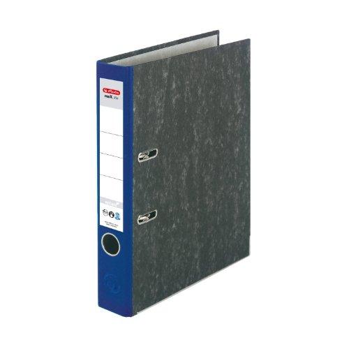 Herlitz 11012382 Ordner maX.file nature A4 5cm blau, Wolkenmarmorbezug/Papier grau 5er Packung