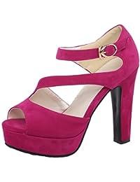 TAOFFEN Mujer Peep Toe Sandalias De Fiesta Clasico Plataforma Tacon Alto Zapatos De Hebilla