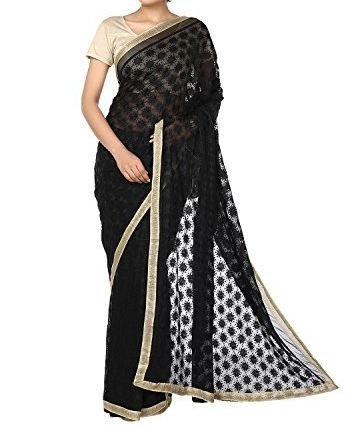 simple and elegant beautiful chifon saree star embroidery jal work all over...