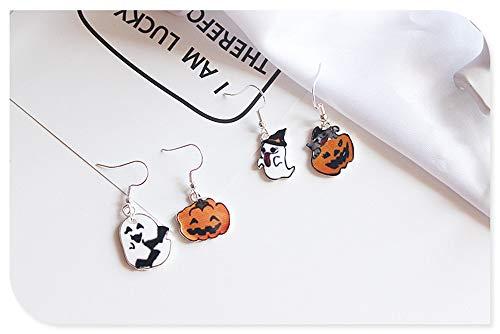 ieyol Asymmetrie-Set mit 2 Paaren Halloween-Set Ghost, Orange Pumpkin Jack Lantern, Schwarze Katze-Ohrstecker f¨¹r M?dchen