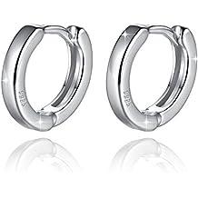 Boucles d'oreilles Argent Petits Anneaux créoles pour femme fille homme avec un écrin cadeau- Idée Cadeau Saint Valentin Anniversaire