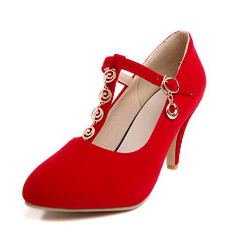 AgooLar Damen Pu Leder Stiletto Spitz Zehe Rein Schnalle Pumps Schuhe Rot