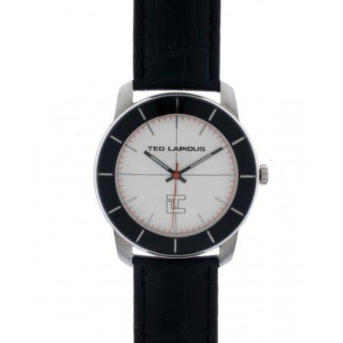 Ted Lapidus - 5125901 - Montre Homme - Quartz Analogique - Cadran Gris - Bracelet Cuir Noir