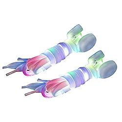 DoGeek Bunt LED Schnürsenkel Leuchte Schnürsenkel für Tanzen Party Skaten, Joggen (110 cm, 2 Paar Bunt)
