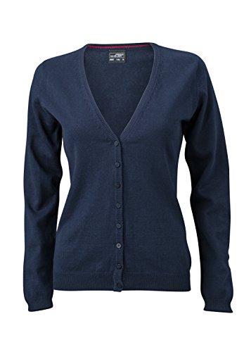 James & Nicholson Damen V-Neck Cardigan Strickjacke, Blau (Navy), 42 (Herstellergröße: XXL) - Navy-blaue Strickjacke