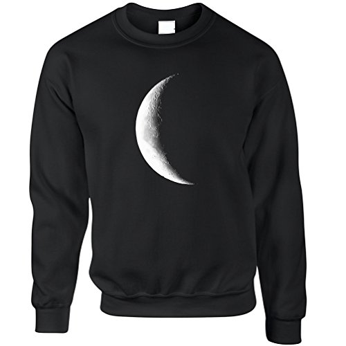 Half Moon Galaxy Space Crescent Lunar Stars Astronomy Warning Phase Moonlight Daydream Moonshine Jumper Sweater Sweatshirt Cool Funny Gift Present
