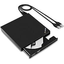 Unidad Optica de CD Externa, YOKKAO Grabadora de CD/ Lector de DVD Portátil Compatibilidad Universal PC / Laptop / Notebook / Netbook / Ordenadores Portátiles y de Sobremesa (Negro)
