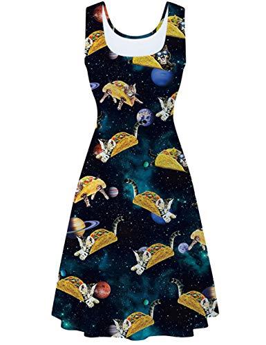 Katze Kostüm Für Damen Stadt Party - uideazone Damen Ärmelloses Kleid Beiläufiges Sommerkleid Strandkleid Midi Tank Kleid Ausgestelltes Trägerkleid Knielang A Linien Kleid (Galaxis-Katze, L)