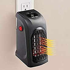 PEARL ACE Portable Heater, 400W Handy Heater Compact Plug-In Portable Digital Electric Heater Fan Wall-Outlet Handy Air Warmer Blower Adjustable Timer Digital Display for Home/Office/Camper.