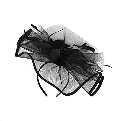 ut Damen Cocktail Fascinator Haarreif Englische Tee Tanzparty Party Retro Headwear 1920er Jahre ZubehöR Stirnband Fascinators Hut Blume Mesh BäNder Federn Auf Einem Stirnband ()