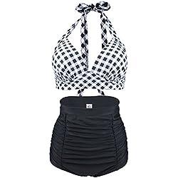 ERWAA Bikini Mujer Traje de Baño Retro Vintage Cintura Alta para Playa Nadando Deportes Acuáticos