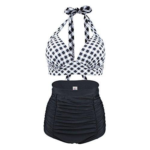 ERWAA Maillot de Bain Set Taille Haute, Bikini Ensemble Madames Maillots de Bain Shapewear Vintage Halter Plaid pour les Femmes Plage Natation Noir Rouge Point - Noir/Blanc - Taille 3XL (EU42)