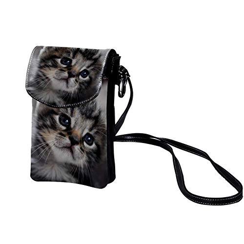 Chat bébé Hochwertige Leder-Kartentasche Tragbare Geldbörse Leichte Umhängetasche Brieftasche für Frauen, Männer, Kinder -