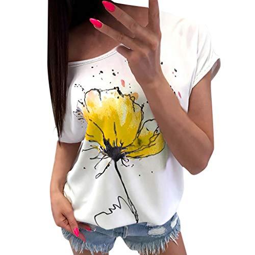 Tshirt Oberteile Damen Elegant Sommer Kurzarm Lässige Blumendruck Bluse Kurzarm lose Tee (YE, XXL) -