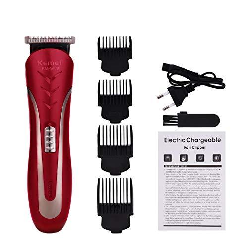 KEMEI Tondeuse Cheveux Professionnell pour Hommes, Rechargeable Tondeuse à Cheveux Sans Fil, avec 4 Peignes de Limite- Roug