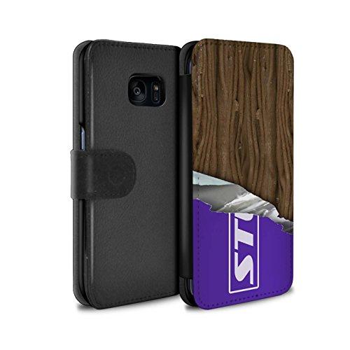 Mobile-edge-schokolade (Stuff4® PU-Leder Hülle/Case/Tasche/Cover für Samsung Galaxy S7 Edge/G935 / Eingewickelt Flake Muster/Schokolade Kollektion)