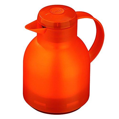 Emsa 504234 Isolierkanne, 1 Liter, Quick Press Verschluss, 100% dicht, Transluzent Orange, Samba