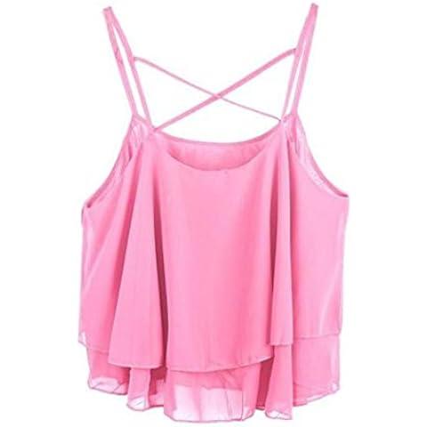 Fortan Le donne irregolari estate cinghia di stampa floreale chiffon Camicia Camisole Vest