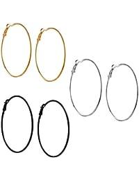 Fresh Vibes Triplet Combo of Silver Golden & Black Big Round Hoop Earrings for Women | Fancy & Stylish Party Wear Single Circle Metallic Earings for Girls (5)